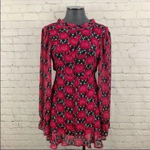 For Love & Lemons Clover Crimson Floral Mini Dress